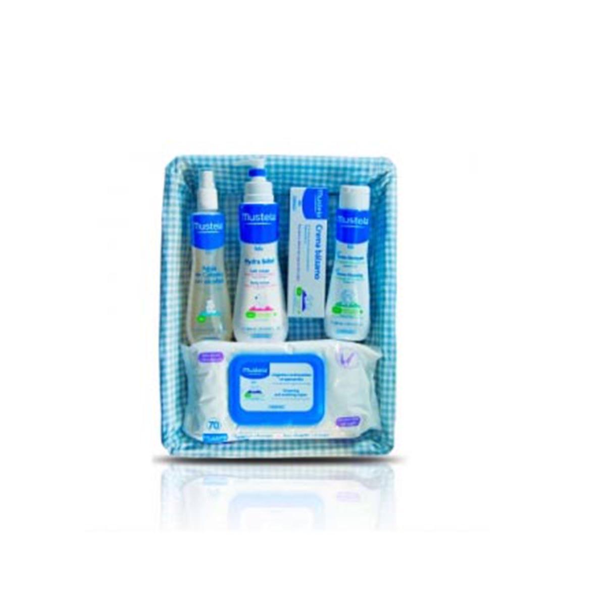 Mustela canastilla azul crema blsamo 50ml colonia s alcohol 200ml hydra bebe 300ml nettoyante 200ml toallitas 70u