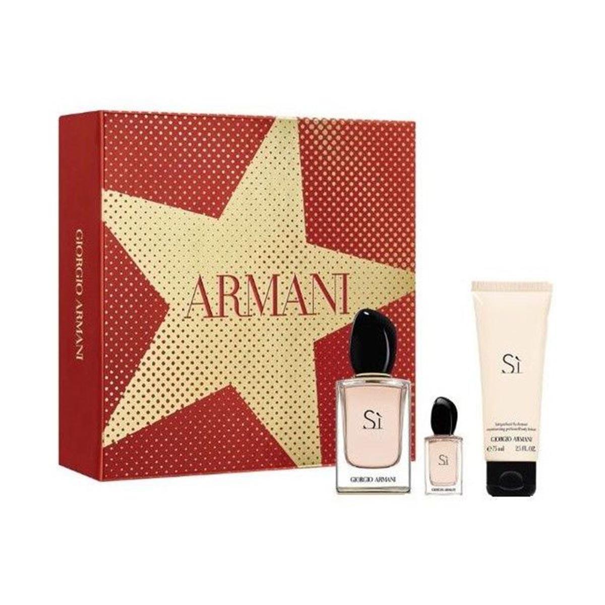 Giorgio armani si eau de parfum 50ml vaporizador perfumed body lotion 75ml miniatura 15ml vaporizador
