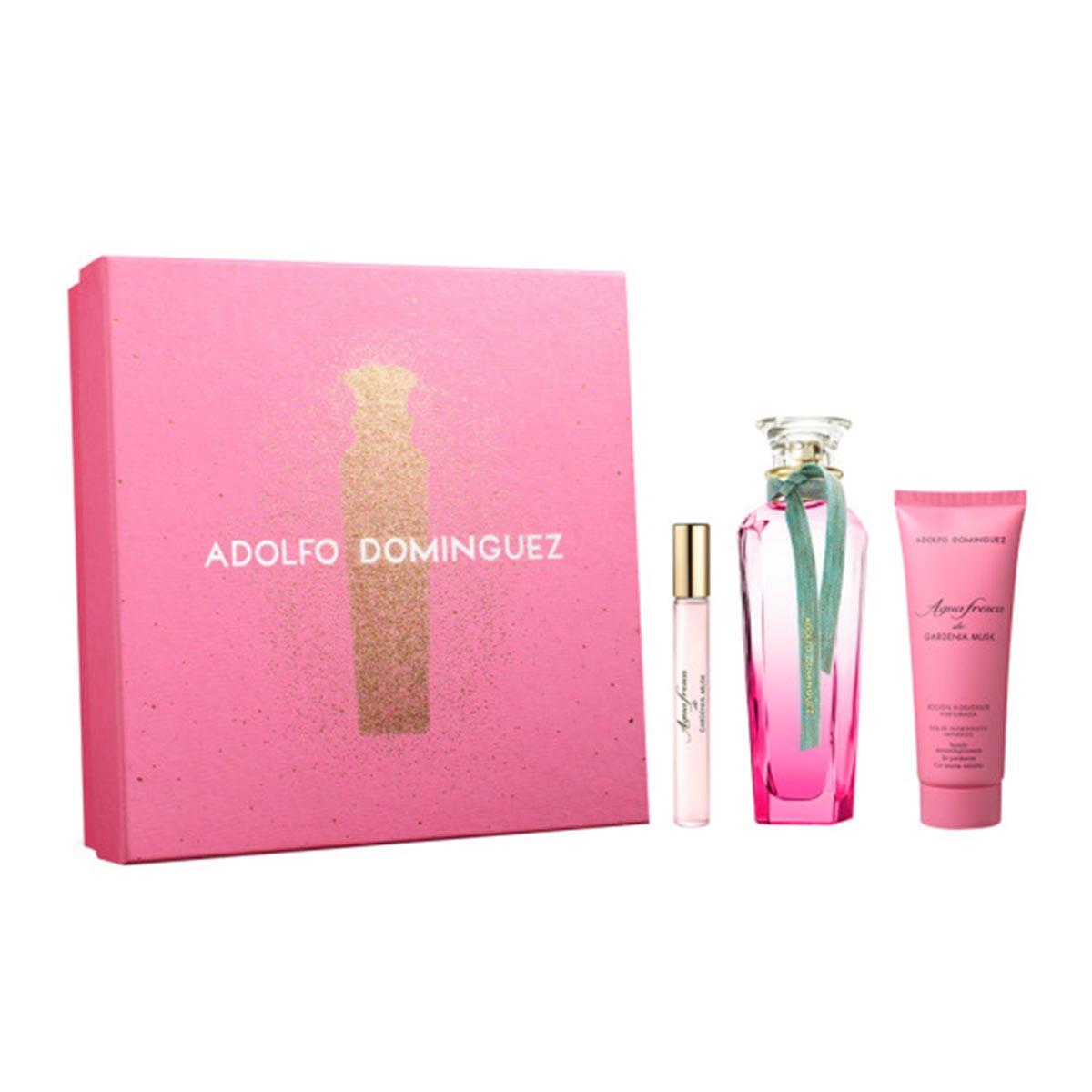 Adolfo dominguez agua fresca de gardenia musk eau de toilette 120ml vaporizador perfumed body lotion 75ml miniatura