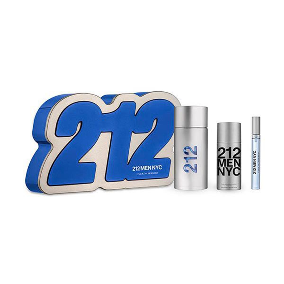 Carolina herrera 212 men eau de toilette 100ml vaporizador after shave gel 100ml miniatura